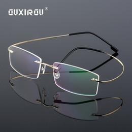 a163a7f2ca Lightweight Rimless Glasses Frame Memory Titanium Eyeglasses Women Men  square Myopia Optical Glasses Frames Brand s860