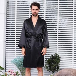 Men s Single Silk Dressing Gown Summer Long Sleeve Thin Style Pajamas Rayon  Robes Sexy Pajamas Extra Size Pure Black Bathrobe 9e325359a