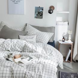 $enCountryForm.capitalKeyWord NZ - Plaid Bedding Set Yarn-Dyed Washed Coon Bedding Set 4pcs Cute Bedding Set Full Bed Size 4 pcs Bedding Set DAZWJJ-6