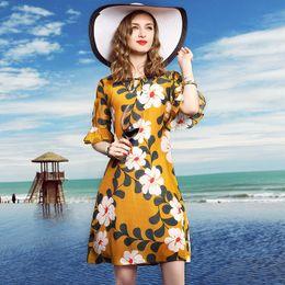 $enCountryForm.capitalKeyWord Canada - 2018 Summer Dress Sexy Deep V Neck Beach Casual Tunic Half Sleeve Boho Floral Printed Women Long Maxi Dresses