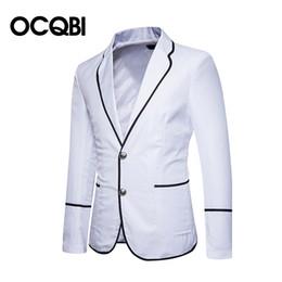 Wholesale blazers for men resale online - New Fashion Preppy Style Casual Blazer for Men Regular Slim Office Jacket Notch Men Casual Wears