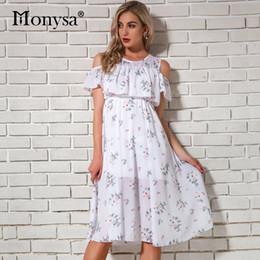 $enCountryForm.capitalKeyWord NZ - Cold Shoulder Dresses For Women Summer 2018 New Arrivals Floral Print Chiffon Dresses Women Knee Length Dress Casual Streetwear