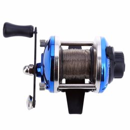 blue lures NZ - Mini Right Hand Drum Fishing Wire Winder with 0.2mm Line 50m Spinning Fishing Reel Fish Wheel For Little Jig Lure Spare Spool