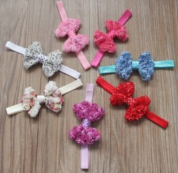 Rosette baby kids online shopping - 70pcs cm Print Chiffon Fabric Rosettes Bow Flower Headbands for Babies Girls Bow Hair Accessories Headband Bows for Kids