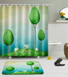 3d bathroom shower curtains Canada - 3D Digital Printing Rabbit Shower Curtains Polyester Waterproof Bathroom Shower Curtain Bath Curtain with Hooks Floor Mats sets