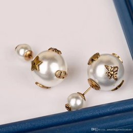 Double top plate online shopping - Top brass material paris design earring with double nature pearl and bee decorate stamp logo charm stud earring for women jewelry gift free