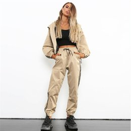 Discount full length coats - 2019 New Woman Sportswear Tracksuit Hooded Jackets Long Sleeve Side Striped Coats & Harem Pants 2 Piece Suit Set Outfits