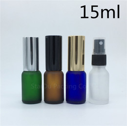 amber glass spray 2019 - travel bottle 15ml amber blue green transparent frosted glass bottle with sprayer, 15cc perfume Spray Bottles 200pcs dis