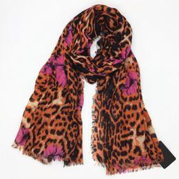 Cotton Print Material Canada - New design orange color cotton material print Leopard floral long scarves pashmina scarf for women big size 190cm-110cm
