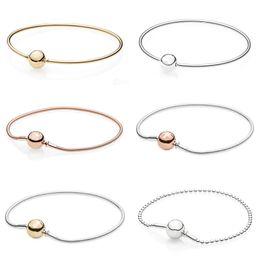 Ball Bangles Australia - Rose Gold Ball Clasp ESSENCE COLLECTION Beaded Bracelet Fit Snake Chain Bracelet Bangle 925 Sterling Silver Bead Charm