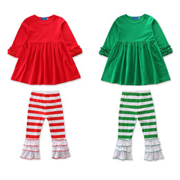 Pagoda sleeves dress online shopping - Baby Girls Christmas Outfits Kids Girl Designer Clothes Ruffle Frills Pagoda Sleeve Dresses Striped Pants Trousers Autumn Clothing Sets T