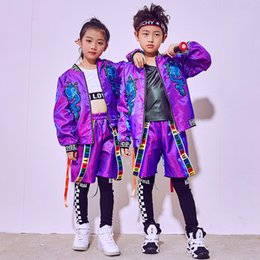 jazz boys clothes Canada - 2018 Hip Hop Dance Costume Kids Boys Jazz Costumes Girls Street Dance Clothing Children'S Day Performance Wear Stage Suit DN1793