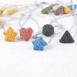 Triangle shape necklace online shopping - 9 color Lava Rock Necklaces Triangle star Heart fish Drop shape beads Essential Oil Diffuser Stone pendant For women Fashion Jewelry