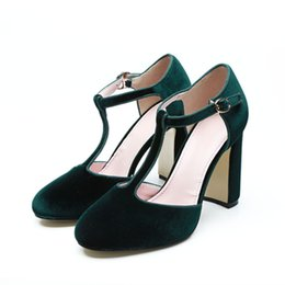 1af8f23c0f26 2018 Brand New Designer Shoes Elegant Mary Jane Ankle Strap T-tied High  Block Heel Pumps Real Photo Woman Party Dress Shoes