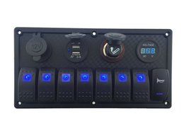 $enCountryForm.capitalKeyWord NZ - 12V-24V DC 8 gang Waterproof marine blue led switch panel with double led power socket Cigarette Lighter horn switch and 4.2A USB voltmeter