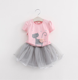 Wholesale 2018 Summer New Baby Girls Clothing Sets Fashion Style Cartoon Kitten Printed T Shirts Net Veil Dress Girls clothing kids outfits