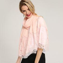 Joker lace online shopping - For Women Joker Silk Scarf Multi Colors Winter Keep Warm Neckerchief Cotton Linen Lace Scarves Durable sc BB