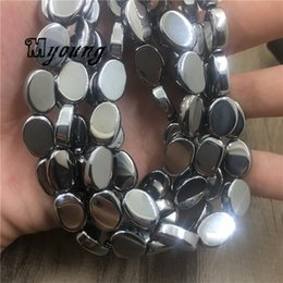 titanium beads wholesale Canada - Wholesale Oval Shape Silver Titanium Agates Quartz Space Beads for DIY Jewelry Making 10x14mm 5 strands lot MY1957