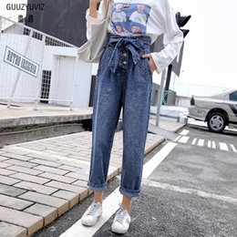 Women's Clothing Guuzyuviz Autumn Winter Plus Size Jeans Woman Vintage Casual Print Hole Ripped Washed Cotton Denim High Wasit Pants Mujer Great Varieties