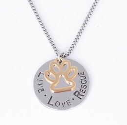 Discount pendant couples wholesale love letter - DHL Love Letter Dog Couple Necklace Live Love Rescue Cat Dog Paw Print Pendant Necklace Mothers Day New Fashion