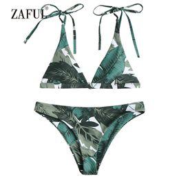 2c6d546739ce3 wholesale Bikini 2018 Tie Shoulders Swimwear Women Swimsuit Leaf Plunge  Spaghetti Straps Pad Pine Green Sexy V-Neck Triangle Biuqni