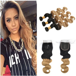$enCountryForm.capitalKeyWord NZ - Brazilian Short Weave Hair Extensions Remy Hair 1B Honey Blonde Ombre Body Wave Short Hair Weft With Lace Closure 4*4 Bleached Knots