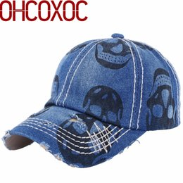 $enCountryForm.capitalKeyWord Canada - men's women's novelty caps skull hats print  design denim material vintage style 55-60 Cm adjustable baseball cap