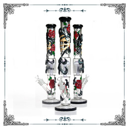 Perc hand PiPe online shopping - 18 inches straight tube glass rose pipe big bong tree perc bong hand drawing art pattern glass smoking Water pipe hookah heady glass