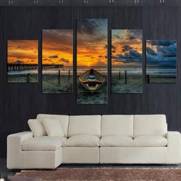 $enCountryForm.capitalKeyWord Australia - No Frame 5 Panel Seascape And Boat With HD Large Print Canvas Painting For Living Room Home Decoration Unique Gift Wall Picture Y18102209
