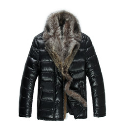 Mens Parka Leather UK - Mens Leather Down Jackets Real Fur Collar Winter Parkas Down Coats Snow Clothes Warm Thick Outwear High Quality Larger Size 5XL