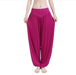 womens wide leg trousers UK - New Women Casual Harem Pants High Waist Dance Pants Woman Fashion Wide Leg Loose Trousers Bloomers Pants Womens Plus Size
