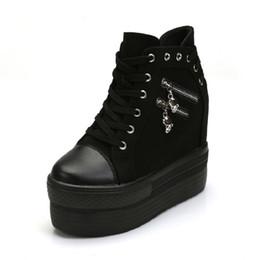 $enCountryForm.capitalKeyWord Australia - Wedges Canvas Shoes Woman Platform High Top Shoes Hidden Heel Height Increasing Casual Shoes Female White Black Blue