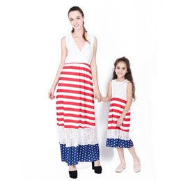 $enCountryForm.capitalKeyWord Canada - Family Matching Outfits Mother Daughter Dresses American Flag Stripe Dresses Mommy And Me Dresses Fashion V-neck Stitching Dress