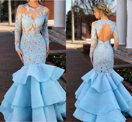 black feather skirt dress NZ - Light Sky Blue Lace Organza Mermaid Prom Dresses Wth Long Sleeve Modest Jewel Keyhole Back Fishtail Ruffles Skirt Evening Gowns