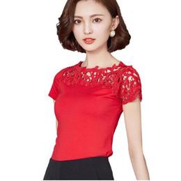 2f2d902b842e Blusa Camisa Das Mulheres de Algodão de Renda Patchwork Moda Verão Camisa  de Manga Curta Senhoras Elegantes Tops Plus Size Roupas Femininas
