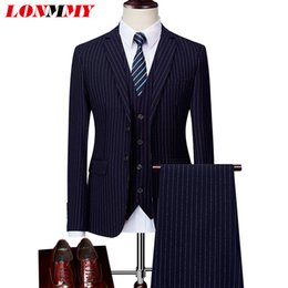 clothing for wedding man 2018 - LONMMY Jacket+Pants+Vests 3 Pieces sets Business men suits for wedding Leisure stripe Mens blazer jacket mens clothing n