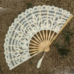 12 Cm Fan Australia - Lace Hand Fan Manual Embroidery Double Deck Folding Fans Beige Wedding Favors For Guest Gifts Arts And Crafts 12 5tr gg