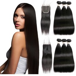 Bleachable Hair Australia - 7A Brazilian Raw Indian Straight Human Hair Weaves Extensions 3 Bundles with Closure Double Weft Dyeable Bleachable 100g pc
