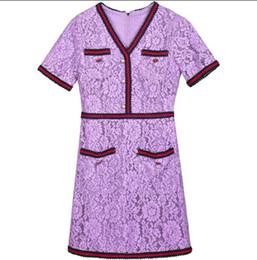 $enCountryForm.capitalKeyWord NZ - 2018 Spring Summer Brand Same Style Dress lace V Neck A Line Striped Above Knee Short Sleeve Empire Prom Dress SH