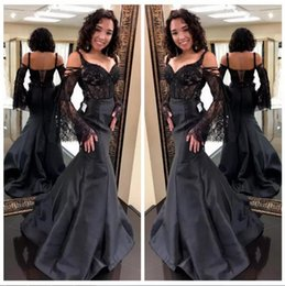 plus size corset mermaid 2019 - 2018 Elegant Black Mermaid Prom Dresses Straps Spaghetti with Lace Sleeves Corset Back Evening Dresses African Formal Pa
