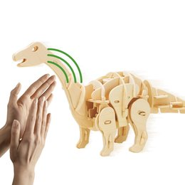 Discount toy dinosaurs walk - Robotime Roaring Walking Apatosaurus Sound Control Dinosaur Toy 3D Wooden Assembly Model Gift for Children Teens Adult D