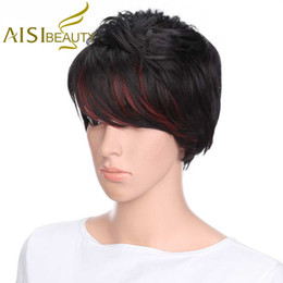 Straight Bangs Wig Australia - Aisi Beauty Synthetic Short Straight Wigs With Bangs Black Mixed Red Color Wig Wholesale Wigs For Black Women