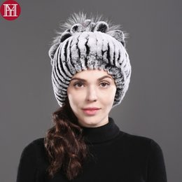 real rabbit fur hats 2019 - new style thickening warm casual fur hat 100% real rex rabbit fur cap with silver fox flower knitted beanie hat freeship