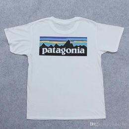 Patagonia homens t camisas das mulheres verão algodão tees casal skate t camisas soltas streetwear moda preto branco venda por atacado