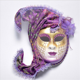 female costume face mask 2019 - Halloween Cosplay Masquerade Mask Venice Antique Painted With Flower Shawl Full Face Party Performance Female Mask cheap