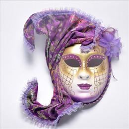Máscara de Halloween Masquerade Cosplay Veneza Antigo Pintado Com Flor Xale Full Face Máscara de Desempenho Do Partido Feminino venda por atacado