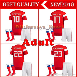 6a2021e35 2018 world cup Russia Soccer Jersey full kit with socks men s Home red  Football suit Thai Quality Kokorin Dzyuba adult Soccer set unifo