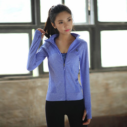 Discount sexy yoga pants for women - Stand-neck Zipper Women's Yoga Jacket Sexy Slim Fitness Breathable Sports Shirt for Women High Quality Female Yoga