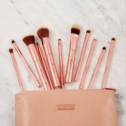 piece cosmetic bag set Australia - Epacket 11 Piece Brush Set With Cosmetic Bag Travel Kit Face Foundation Cream Eyeshadow lip Makeup Brushes Tools Metal Rose