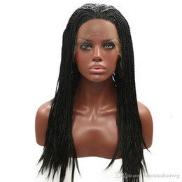 Discount box braids - Top Quality #1B Black Braided Box Braids Baby Hair Synthetic Lace Front Wig Heat Resistant Long Natural Micro Braided Wi